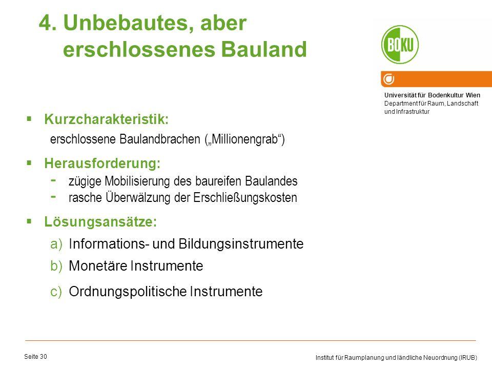 Universität für Bodenkultur Wien Department für Raum, Landschaft und Infrastruktur Institut für Raumplanung und ländliche Neuordnung (IRUB) Seite 30 K