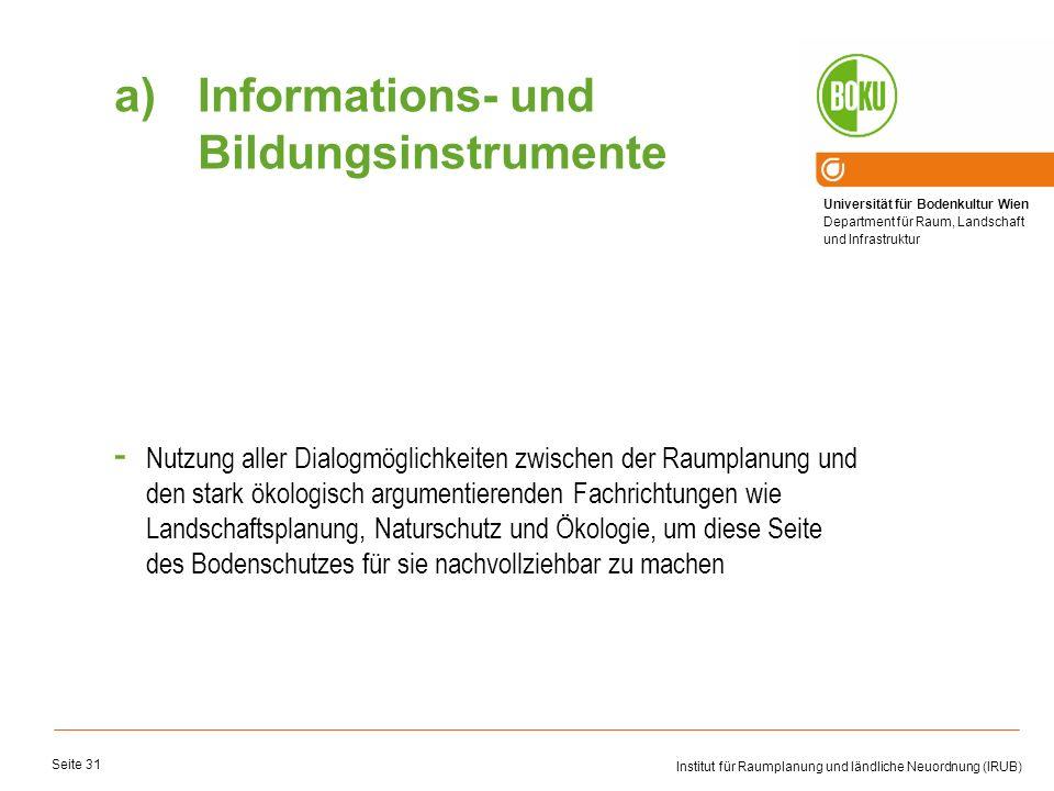Universität für Bodenkultur Wien Department für Raum, Landschaft und Infrastruktur Institut für Raumplanung und ländliche Neuordnung (IRUB) Seite 31 -