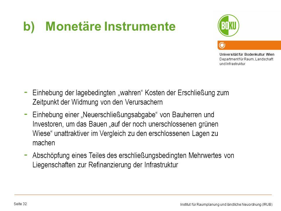 Universität für Bodenkultur Wien Department für Raum, Landschaft und Infrastruktur Institut für Raumplanung und ländliche Neuordnung (IRUB) Seite 32 -
