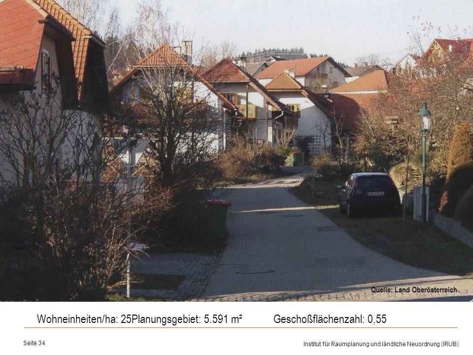 Universität für Bodenkultur Wien Department für Raum, Landschaft und Infrastruktur Institut für Raumplanung und ländliche Neuordnung (IRUB) Seite 34 W