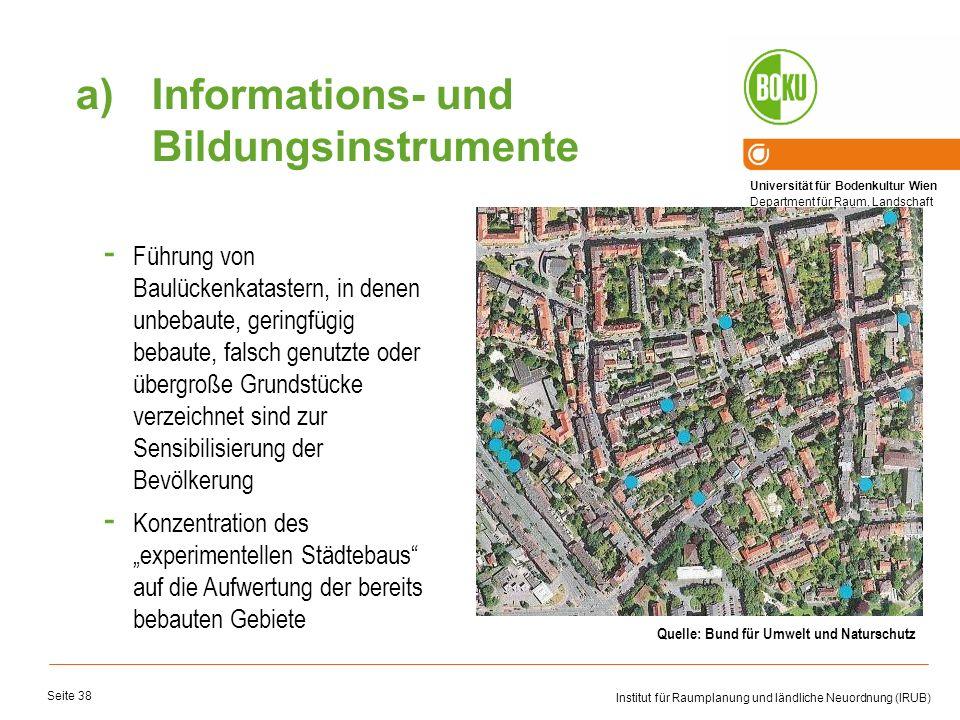 Universität für Bodenkultur Wien Department für Raum, Landschaft und Infrastruktur Institut für Raumplanung und ländliche Neuordnung (IRUB) Seite 38 -