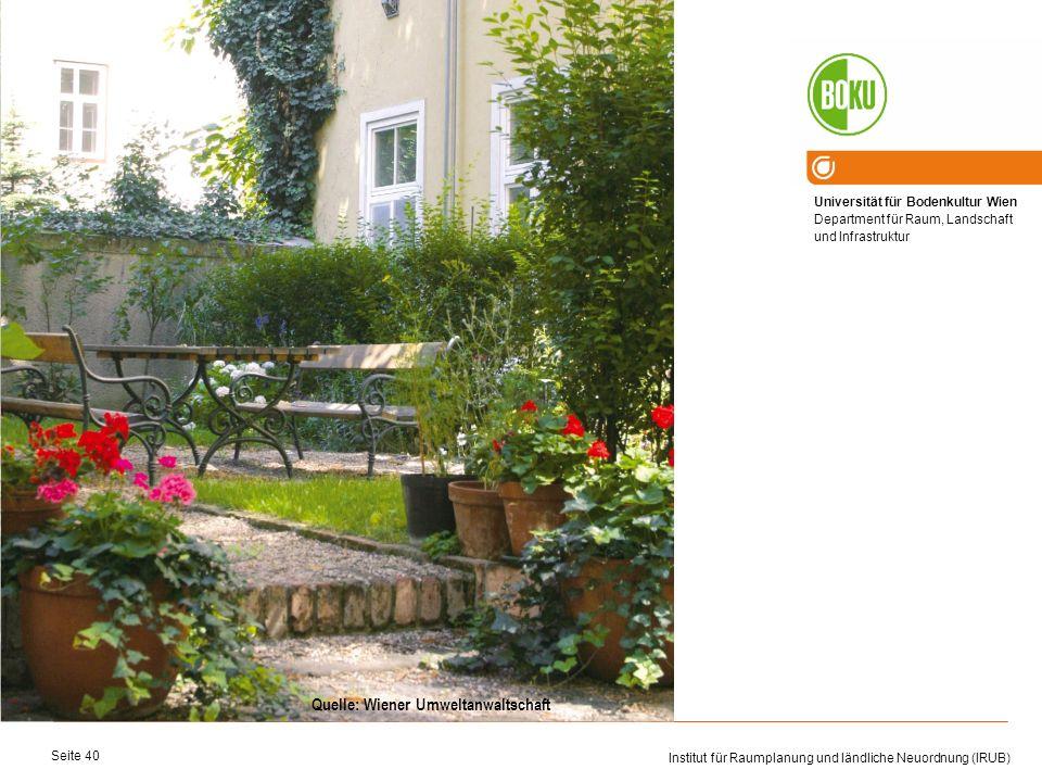 Universität für Bodenkultur Wien Department für Raum, Landschaft und Infrastruktur Institut für Raumplanung und ländliche Neuordnung (IRUB) Seite 40 Q