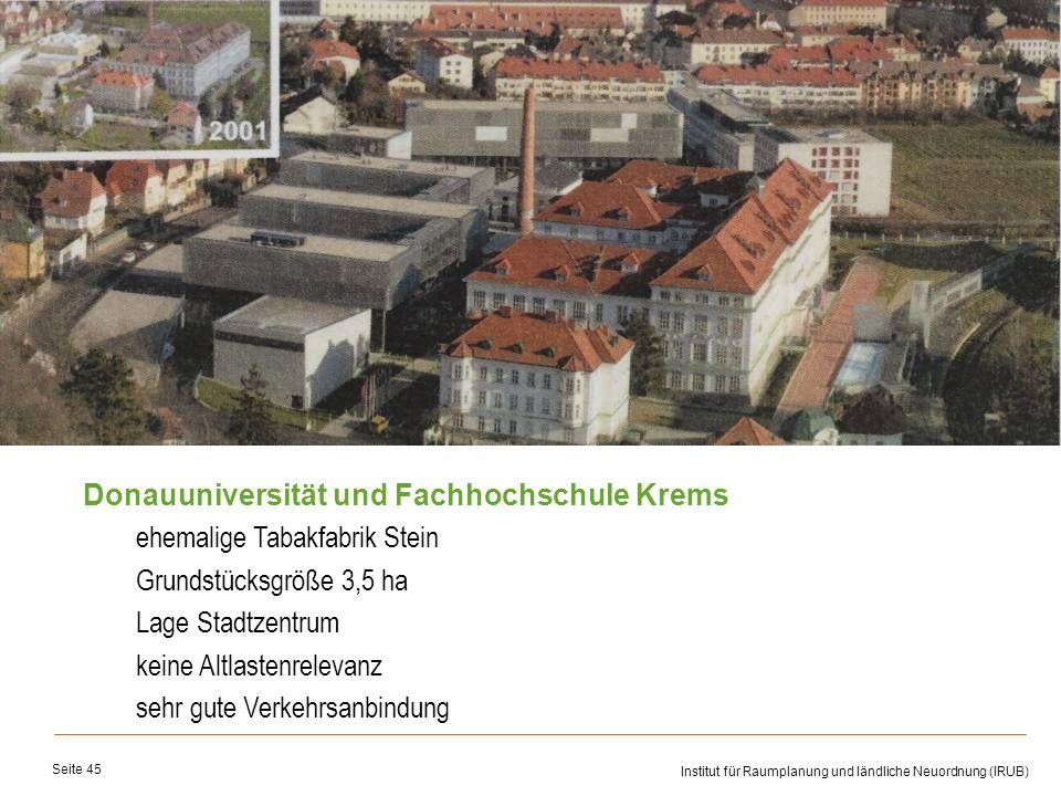 Universität für Bodenkultur Wien Department für Raum, Landschaft und Infrastruktur Institut für Raumplanung und ländliche Neuordnung (IRUB) Seite 45 D