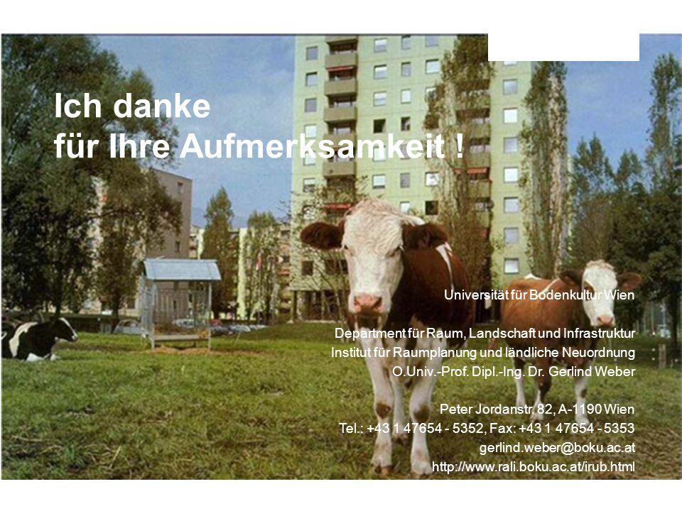 Universität für Bodenkultur Wien Department für Raum, Landschaft und Infrastruktur Institut für Raumplanung und ländliche Neuordnung (IRUB) Seite 50 U