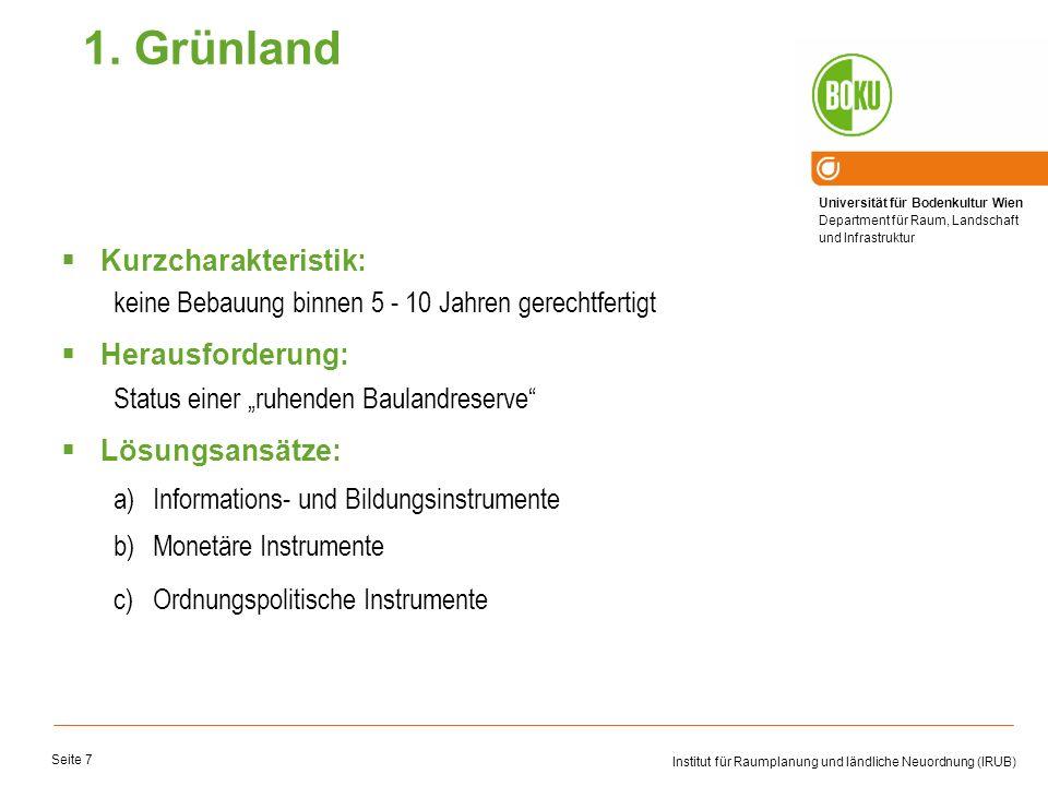 Universität für Bodenkultur Wien Department für Raum, Landschaft und Infrastruktur Institut für Raumplanung und ländliche Neuordnung (IRUB) Seite 7 Ku