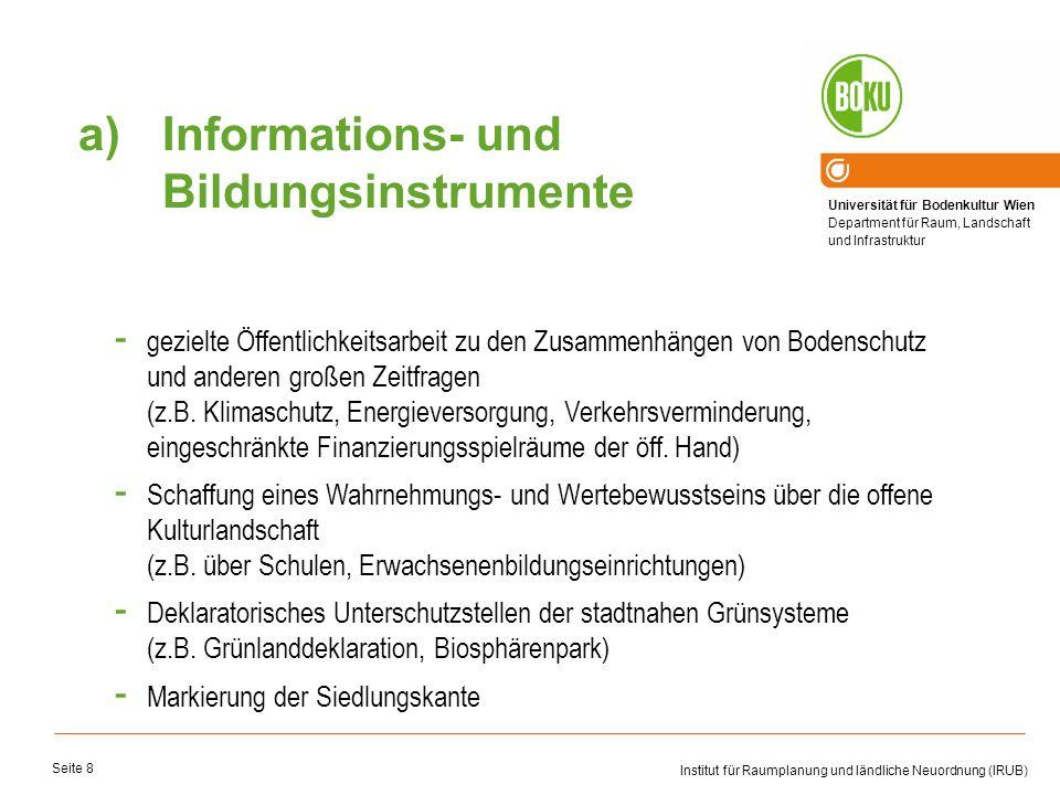 Universität für Bodenkultur Wien Department für Raum, Landschaft und Infrastruktur Institut für Raumplanung und ländliche Neuordnung (IRUB) Seite 8 -