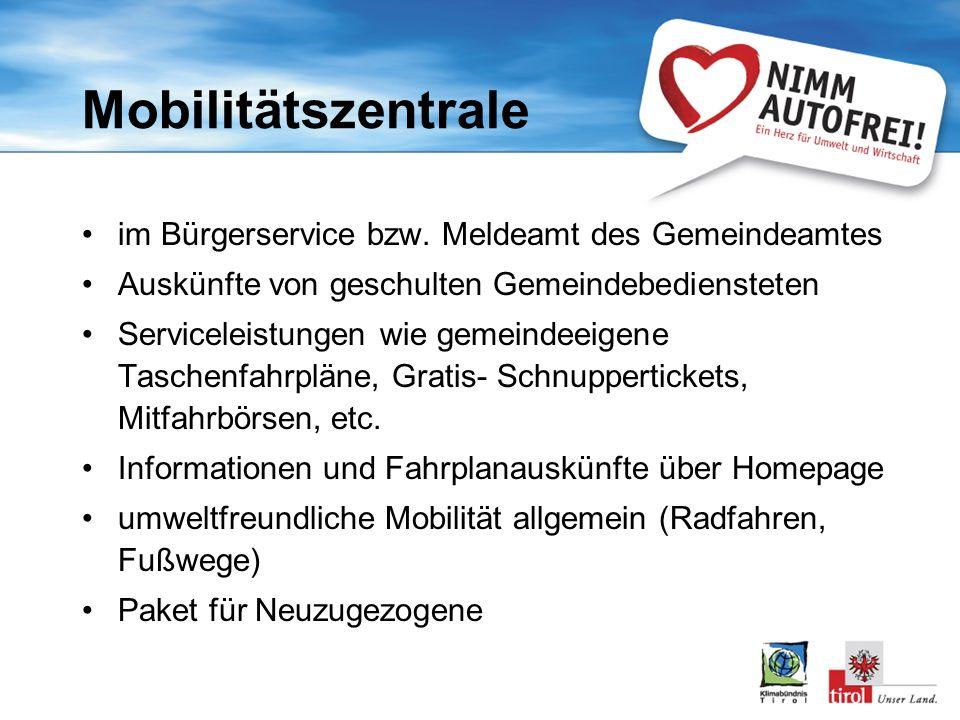 Mobilitätszentrale im Bürgerservice bzw.
