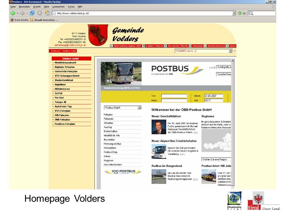 Screenshot von Fahrplanauskunft Homepage Volders