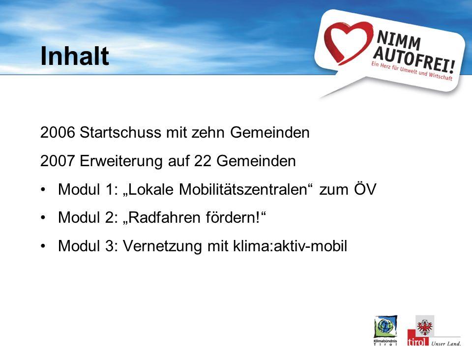 Inhalt 2006 Startschuss mit zehn Gemeinden 2007 Erweiterung auf 22 Gemeinden Modul 1: Lokale Mobilitätszentralen zum ÖV Modul 2: Radfahren fördern.