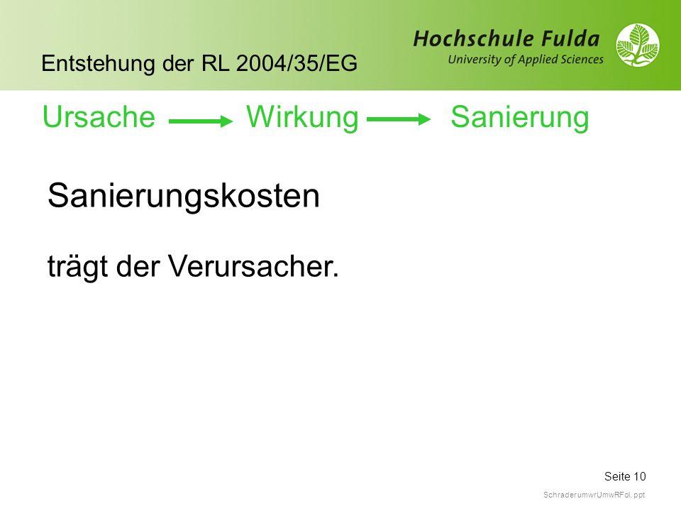 Seite 10 Entstehung der RL 2004/35/EG Schrader umwrUmwRFol. ppt Sanierungskosten trägt der Verursacher. Ursache WirkungSanierung