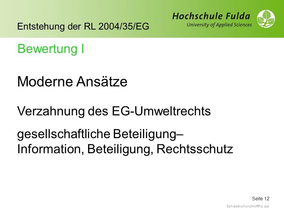Seite 12 Entstehung der RL 2004/35/EG Schrader umwrUmwRFol. ppt Moderne Ansätze Verzahnung des EG-Umweltrechts gesellschaftliche Beteiligung– Informat