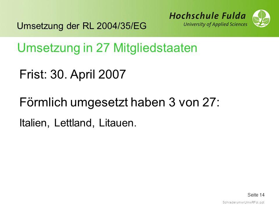 Seite 14 Umsetzung der RL 2004/35/EG Schrader umwrUmwRFol. ppt Frist: 30. April 2007 Umsetzung in 27 Mitgliedstaaten Förmlich umgesetzt haben 3 von 27