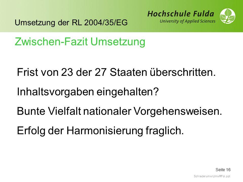 Seite 16 Umsetzung der RL 2004/35/EG Schrader umwrUmwRFol. ppt Zwischen-Fazit Umsetzung Frist von 23 der 27 Staaten überschritten. Inhaltsvorgaben ein