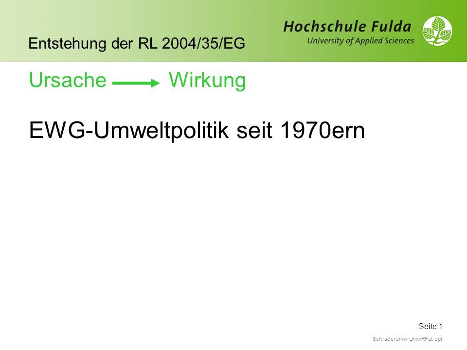 Seite 1 Entstehung der RL 2004/35/EG Schrader umwrUmwRFol. ppt EWG-Umweltpolitik seit 1970ern Ursache Wirkung
