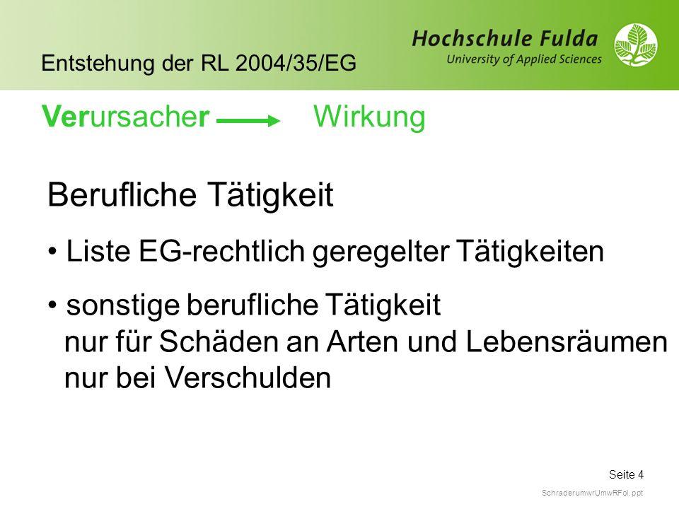 Seite 4 Entstehung der RL 2004/35/EG Schrader umwrUmwRFol. ppt Berufliche Tätigkeit Liste EG-rechtlich geregelter Tätigkeiten sonstige berufliche Täti