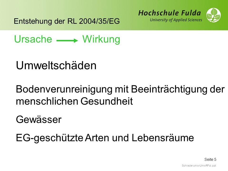 Seite 5 Entstehung der RL 2004/35/EG Schrader umwrUmwRFol. ppt Umweltschäden Bodenverunreinigung mit Beeinträchtigung der menschlichen Gesundheit Gewä