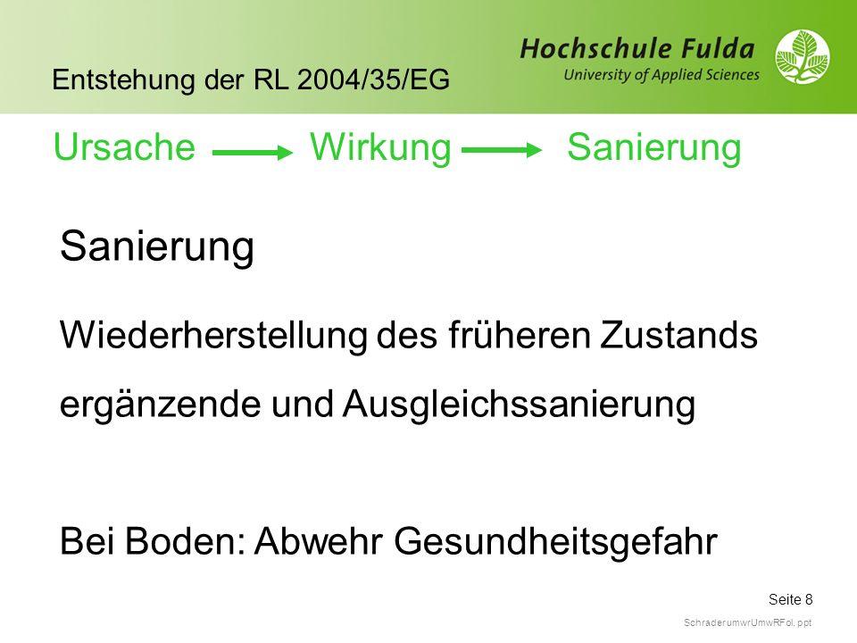 Seite 8 Entstehung der RL 2004/35/EG Schrader umwrUmwRFol. ppt Sanierung Wiederherstellung des früheren Zustands ergänzende und Ausgleichssanierung Be