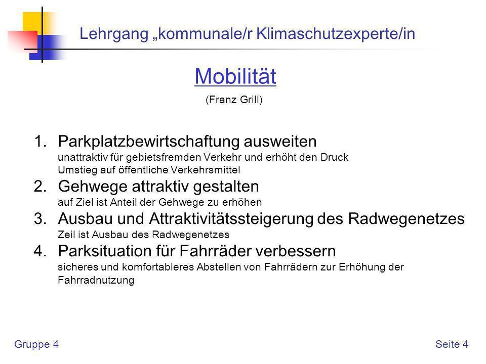 Gruppe 4 Lehrgang kommunale/r Klimaschutzexperte/in Seite 5 Mobilität (Franz Grill) 5.
