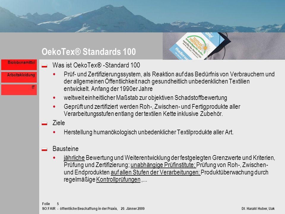 SO:FAIR - öffentliche Beschaffung in der Praxis, 20. Jänner 2009 DI. Harald Huber, Uak Folie Biolebensmittel Arbeitskleidung IT 5 OekoTex® Standards 1