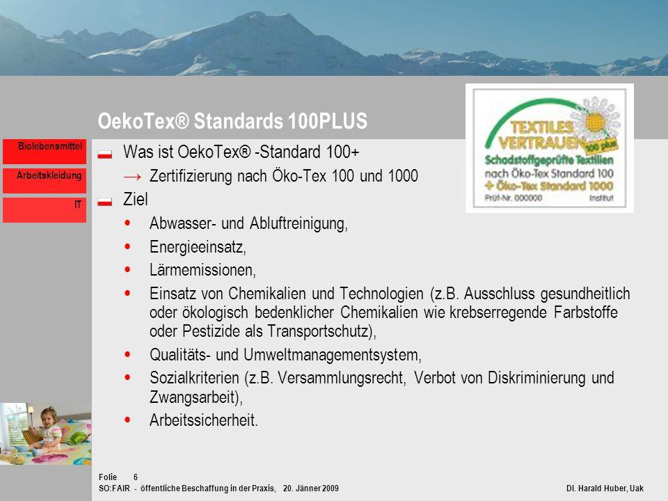 SO:FAIR - öffentliche Beschaffung in der Praxis, 20. Jänner 2009 DI. Harald Huber, Uak Folie Biolebensmittel Arbeitskleidung IT 6 OekoTex® Standards 1