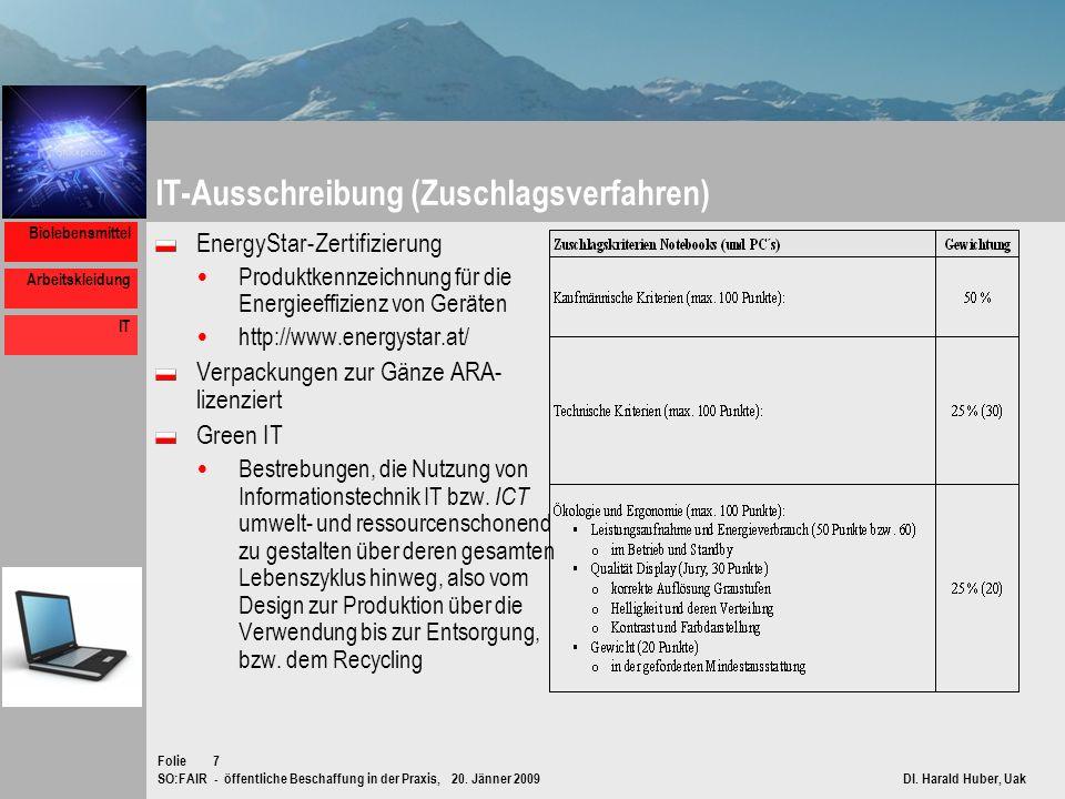 SO:FAIR - öffentliche Beschaffung in der Praxis, 20. Jänner 2009 DI. Harald Huber, Uak Folie Biolebensmittel Arbeitskleidung IT 7 IT-Ausschreibung (Zu
