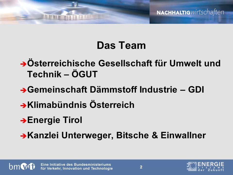 2 Das Team è Österreichische Gesellschaft für Umwelt und Technik – ÖGUT è Gemeinschaft Dämmstoff Industrie – GDI è Klimabündnis Österreich è Energie Tirol è Kanzlei Unterweger, Bitsche & Einwallner