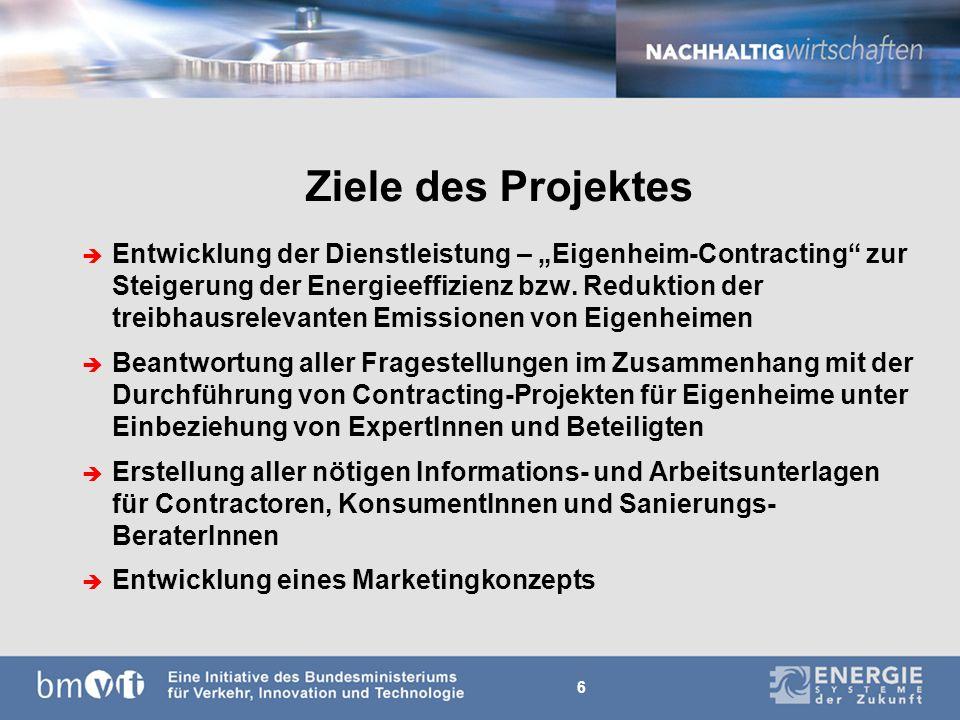 6 Ziele des Projektes è Entwicklung der Dienstleistung – Eigenheim-Contracting zur Steigerung der Energieeffizienz bzw.