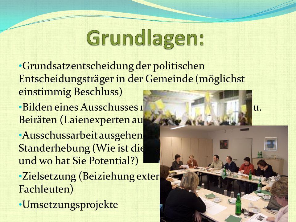 Grundsatzentscheidung der politischen Entscheidungsträger in der Gemeinde (möglichst einstimmig Beschluss) Bilden eines Ausschusses mit allen pol. Ver
