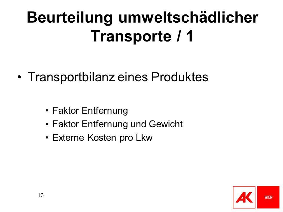 13 Beurteilung umweltschädlicher Transporte / 1 Transportbilanz eines Produktes Faktor Entfernung Faktor Entfernung und Gewicht Externe Kosten pro Lkw