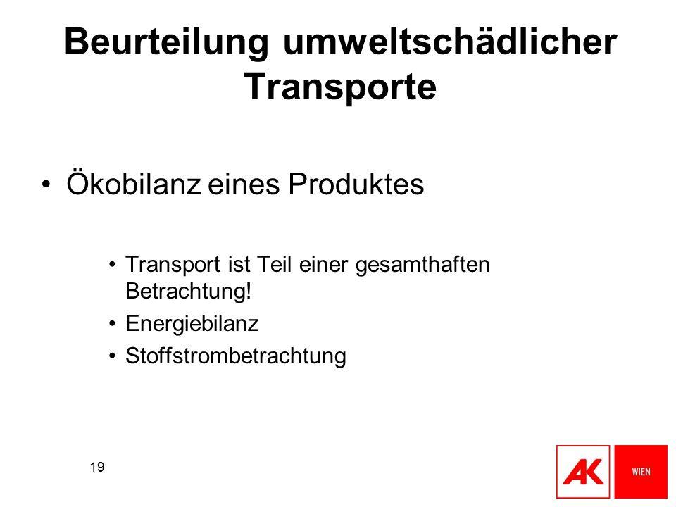 19 Beurteilung umweltschädlicher Transporte Ökobilanz eines Produktes Transport ist Teil einer gesamthaften Betrachtung! Energiebilanz Stoffstrombetra