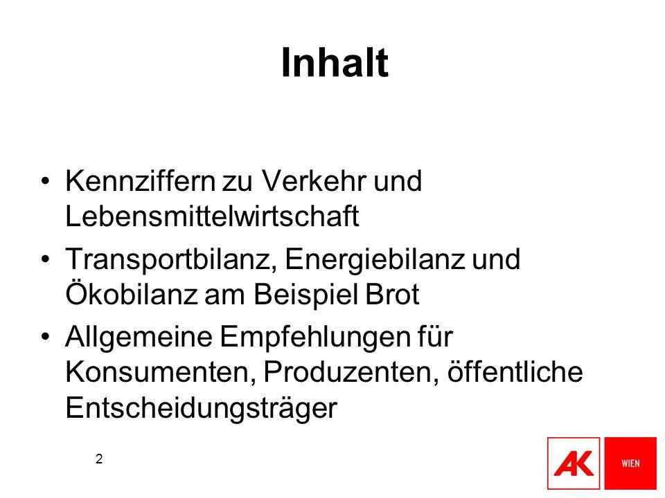 2 Inhalt Kennziffern zu Verkehr und Lebensmittelwirtschaft Transportbilanz, Energiebilanz und Ökobilanz am Beispiel Brot Allgemeine Empfehlungen für K