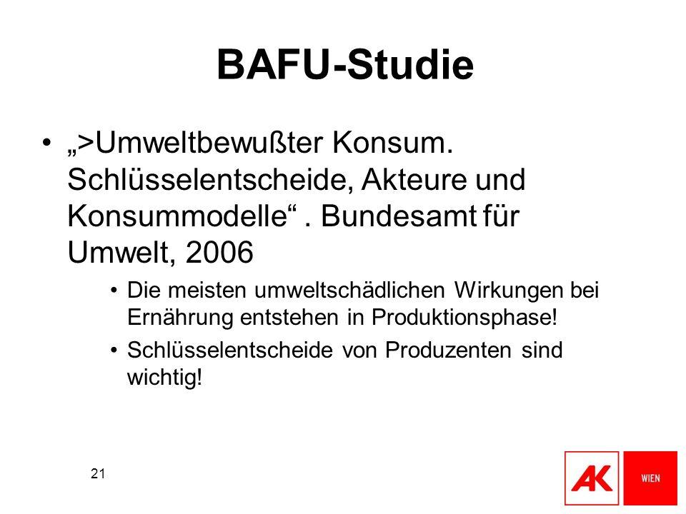 21 BAFU-Studie >Umweltbewußter Konsum. Schlüsselentscheide, Akteure und Konsummodelle. Bundesamt für Umwelt, 2006 Die meisten umweltschädlichen Wirkun