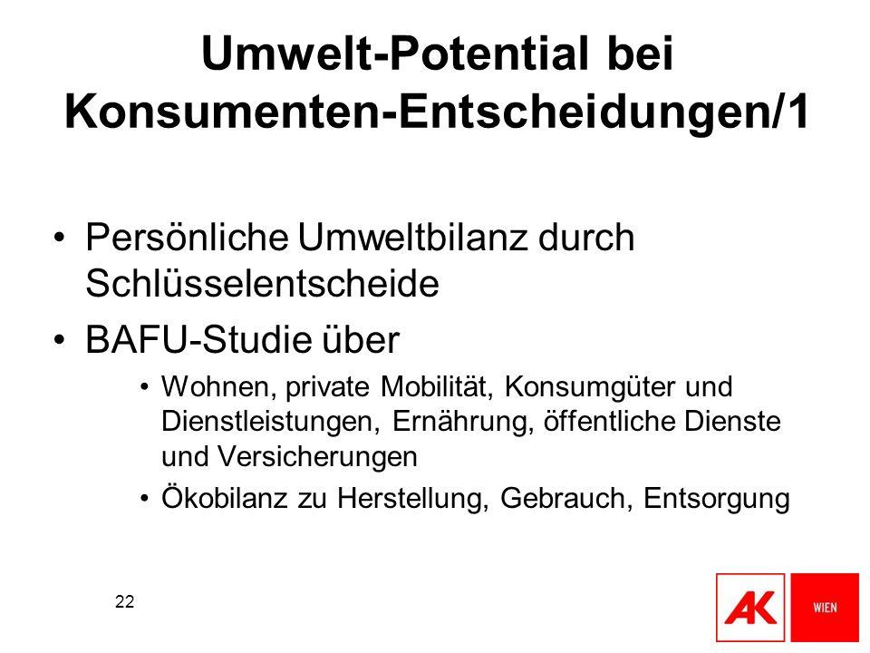 22 Umwelt-Potential bei Konsumenten-Entscheidungen/1 Persönliche Umweltbilanz durch Schlüsselentscheide BAFU-Studie über Wohnen, private Mobilität, Ko
