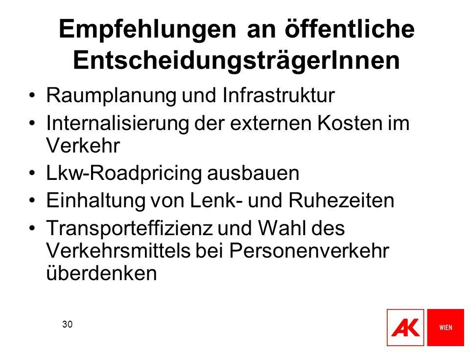 30 Empfehlungen an öffentliche EntscheidungsträgerInnen Raumplanung und Infrastruktur Internalisierung der externen Kosten im Verkehr Lkw-Roadpricing