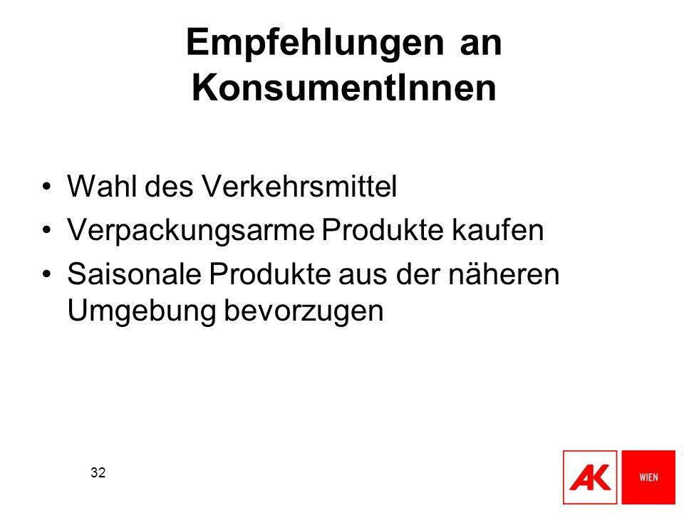 32 Empfehlungen an KonsumentInnen Wahl des Verkehrsmittel Verpackungsarme Produkte kaufen Saisonale Produkte aus der näheren Umgebung bevorzugen