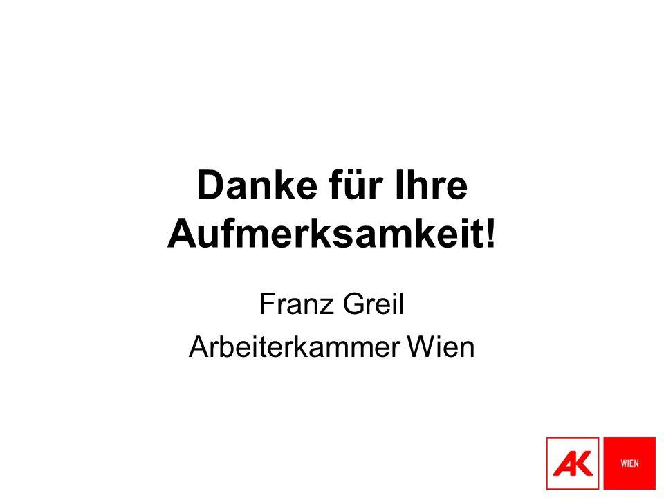 Danke für Ihre Aufmerksamkeit! Franz Greil Arbeiterkammer Wien