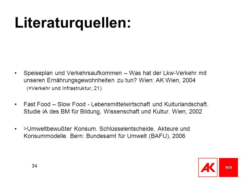 34 Literaturquellen: Speiseplan und Verkehrsaufkommen – Was hat der Lkw-Verkehr mit unseren Ernährungsgewohnheiten zu tun? Wien: AK Wien, 2004 (=Verke
