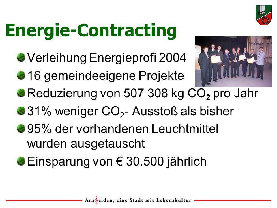 Energie-Contracting Verleihung Energieprofi 2004 16 gemeindeeigene Projekte Reduzierung von 507 308 kg CO 2 pro Jahr 31% weniger CO 2 - Ausstoß als bisher 95% der vorhandenen Leuchtmittel wurden ausgetauscht Einsparung von 30.500 jährlich