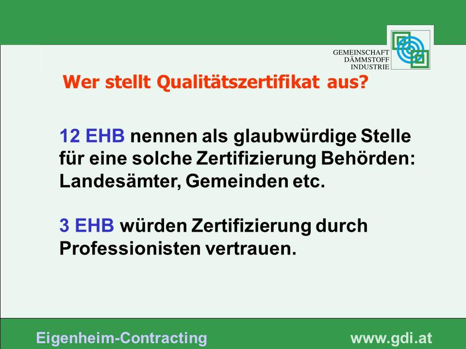 www. gdi.at Eigenheim-Contracting Wer stellt Qualitätszertifikat aus? 12 EHB nennen als glaubwürdige Stelle für eine solche Zertifizierung Behörden: L
