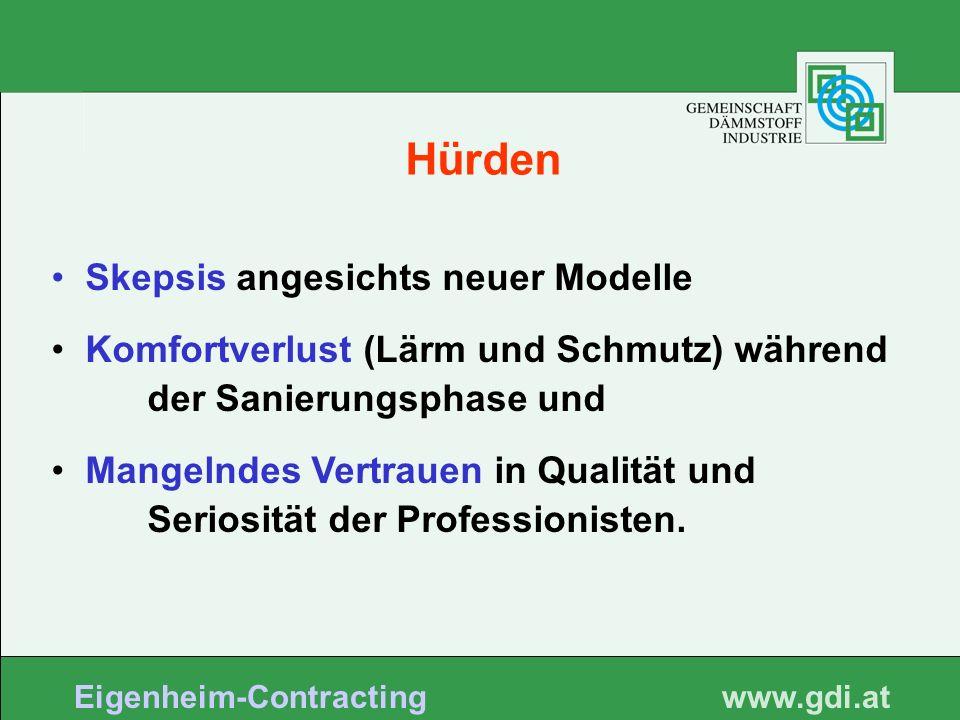 www. gdi.at Eigenheim-Contracting Skepsis angesichts neuer Modelle Komfortverlust (Lärm und Schmutz) während der Sanierungsphase und Mangelndes Vertra