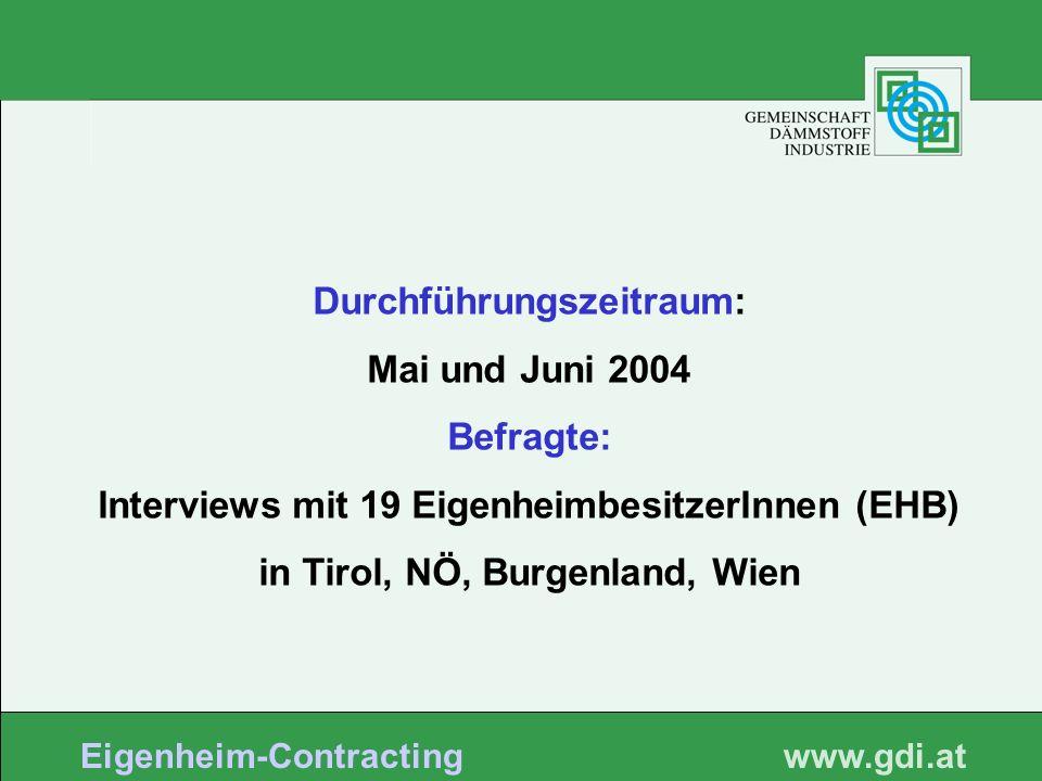 www. gdi.at Eigenheim-Contracting Durchführungszeitraum: Mai und Juni 2004 Befragte: Interviews mit 19 EigenheimbesitzerInnen (EHB) in Tirol, NÖ, Burg