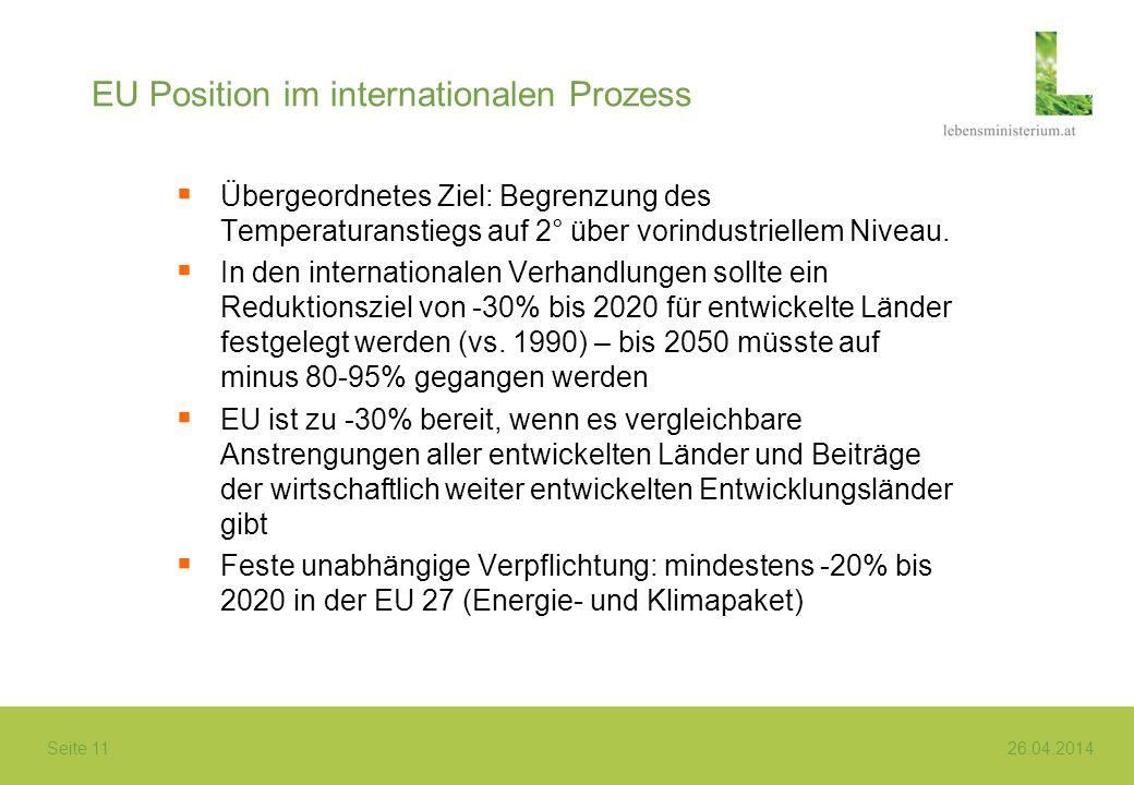 Seite 11 26.04.2014 EU Position im internationalen Prozess Übergeordnetes Ziel: Begrenzung des Temperaturanstiegs auf 2° über vorindustriellem Niveau.