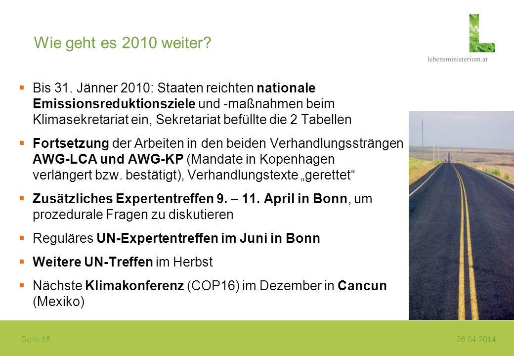 Seite 15 26.04.2014 Wie geht es 2010 weiter? Bis 31. Jänner 2010: Staaten reichten nationale Emissionsreduktionsziele und -maßnahmen beim Klimasekreta
