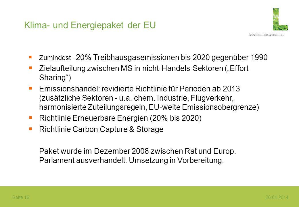 Seite 16 26.04.2014 Klima- und Energiepaket der EU Zumindest -20% Treibhausgasemissionen bis 2020 gegenüber 1990 Zielaufteilung zwischen MS in nicht-H