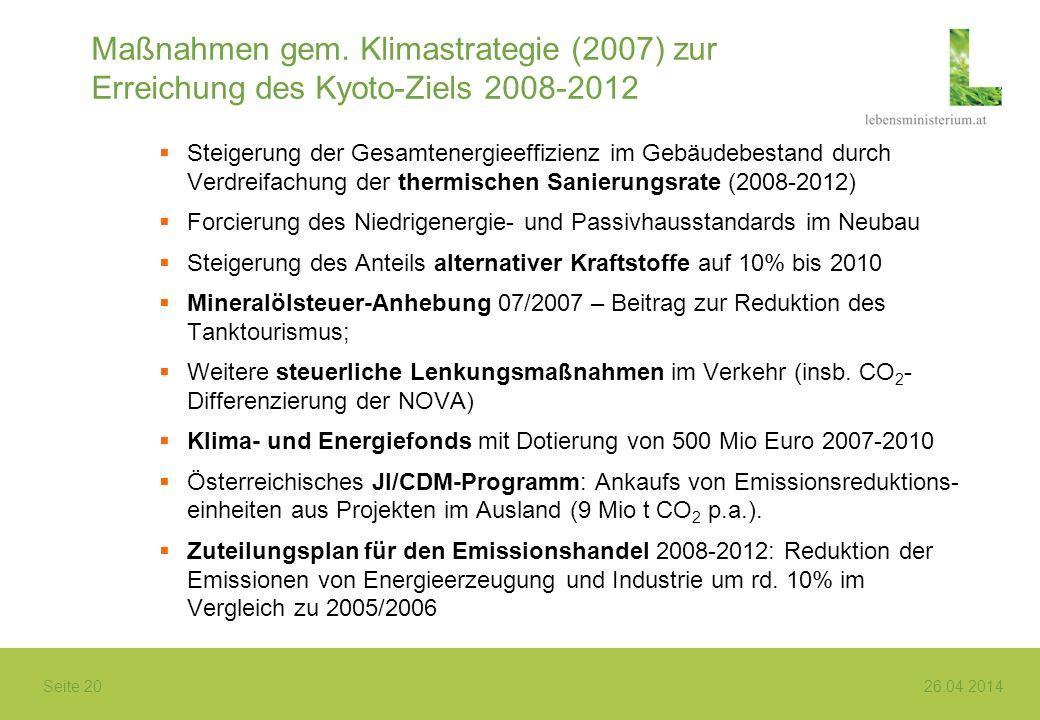 Seite 20 26.04.2014 Maßnahmen gem. Klimastrategie (2007) zur Erreichung des Kyoto-Ziels 2008-2012 Steigerung der Gesamtenergieeffizienz im Gebäudebest