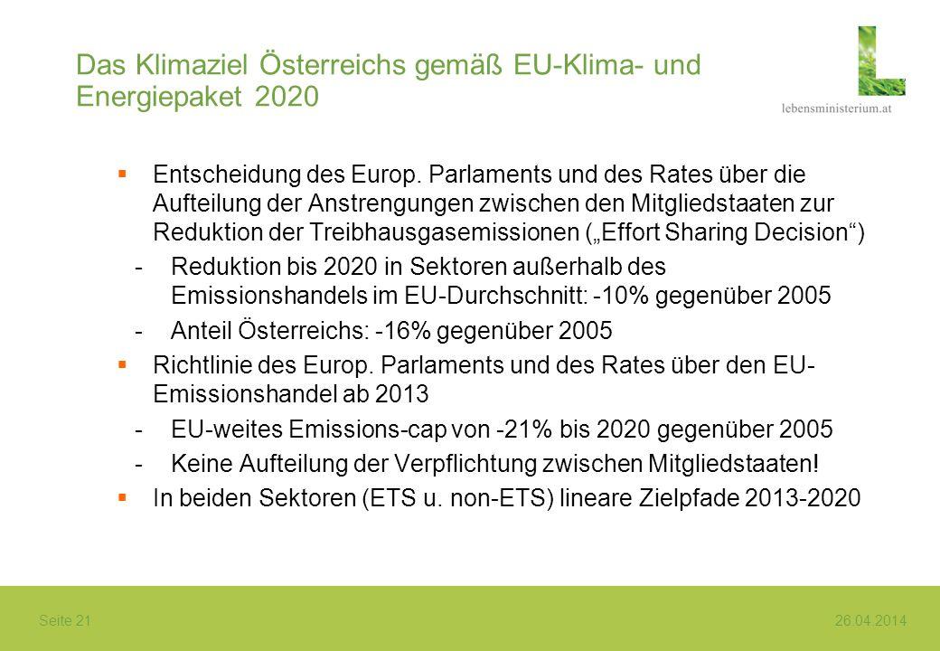 Seite 21 26.04.2014 Das Klimaziel Österreichs gemäß EU-Klima- und Energiepaket 2020 Entscheidung des Europ. Parlaments und des Rates über die Aufteilu
