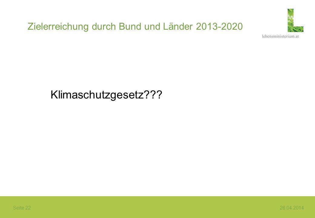 Seite 22 26.04.2014 Zielerreichung durch Bund und Länder 2013-2020 Klimaschutzgesetz???