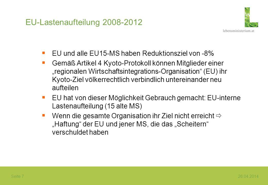 Seite 7 26.04.2014 EU-Lastenaufteilung 2008-2012 EU und alle EU15-MS haben Reduktionsziel von -8% Gemäß Artikel 4 Kyoto-Protokoll können Mitglieder ei