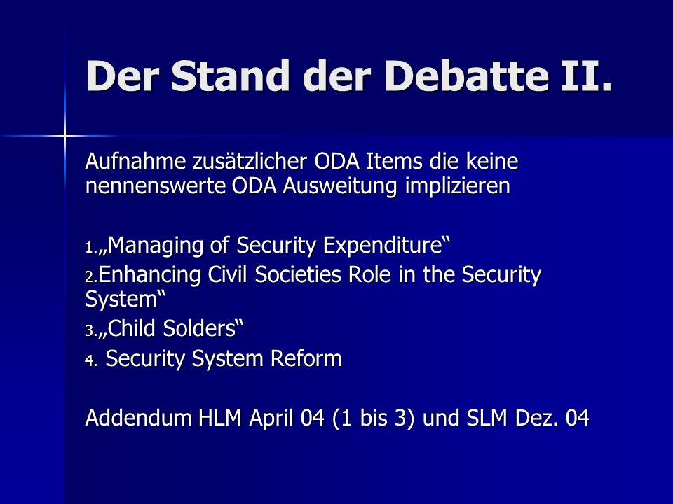Der Stand der Debatte II.