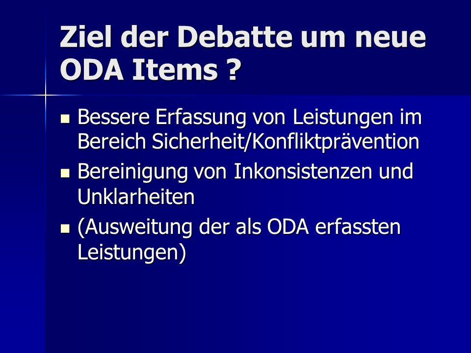 Ziel der Debatte um neue ODA Items .
